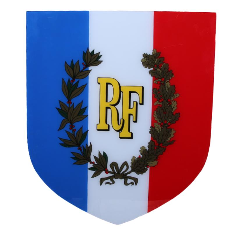 Ecusson porte-drapeau RF tradition + lauriers